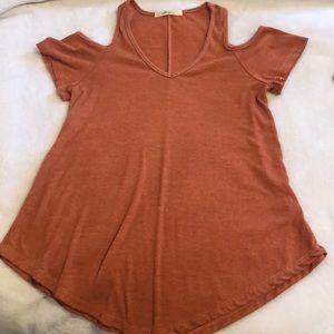 Tops - Burnt Orange cold shoulder top